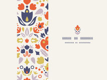 Ornamental folk tulips horizontal frame seamless Stock Photo