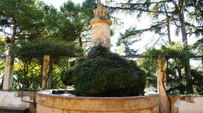 Ornamental fountain and pond of the labyrinth gardens of Horta Stock Photography
