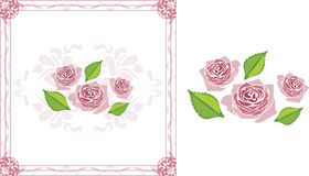 Ornamental frame with blooming stylized pink roses. Illustration Royalty Free Stock Images