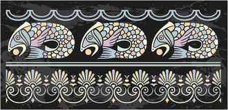 Ornamental frame with fish. Ornamental frame elemet with fish and greek pattern Stock Photography