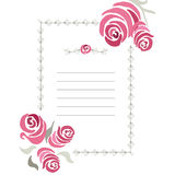 Ornamental frame with hand drawn romantic roses. Vertical border made on doodle branches with place for text. Vector decorative ba Stock Photo