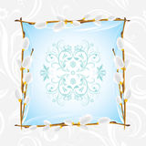 Ornamental frame with willow branch Stock Image