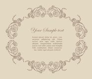 Ornamental frame with roses Royalty Free Stock Images