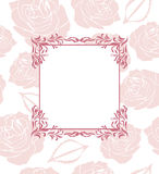 Ornamental frame on seamless background with stylized roses Royalty Free Stock Images