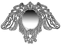 Ornamental frame with sphinxes and mirror Stock Photos