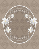 Ornamental frame with white flowers on the dark background. Illustration Royalty Free Stock Photography
