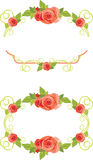 Ornamental frames with blooming roses Stock Images