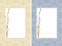 Ornamental frames with willow branches Royalty Free Stock Photography