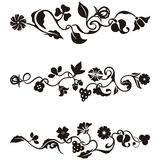 Ornamental frieze designs. With floral details,  series Royalty Free Stock Photo