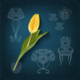 Ornamental furniture hand drawing style and a tulip. Furniture, floor lamp, table, chair, vase, cup, tea, tulip against a dark background. Things that used to Stock Photography