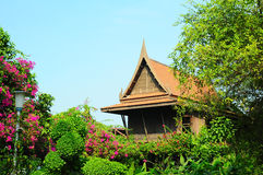 Ornamental gable end of Thai houses Royalty Free Stock Photo