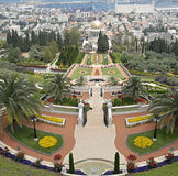 Ornamental garden of the Baha'i Temple stock photos