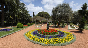 Ornamental garden of the Baha'i Temple stock images