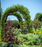 Ornamental garden with a bench Royalty Free Stock Images