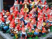 Ornamental garden figurines with little dwarves. Canton of Appenzell Innerrhoden, Switzerland stock images