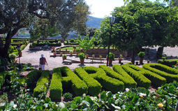 Ornamental garden in medieval village Marvao Royalty Free Stock Image