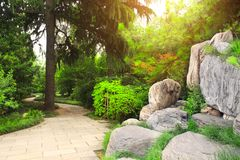 Ornamental garden next to Giant Wild Goose Pagoda, Xian, China royalty free stock photo