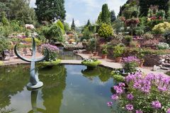 Ornamental garden with pond and blooming flowers Stock Images