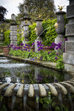 Ornamental garden with water features Stock Images