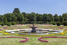 Ornamental garden. Water fountain in beautiful ornamental garden in Vienna, Austria Stock Image