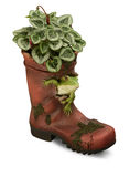 Ornamental Garden wellington boot with drop shadow Stock Images