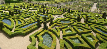 Ornamental gardens near castle of Villandry Royalty Free Stock Images