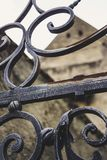 Iron decoration. Ornamental gate decoration in iron stock images