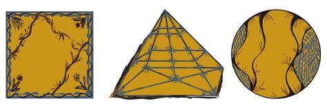 Ornamental geometric shapes circle square pyramid. Three figures yellow floral foliate ornament circle square pyramid Stock Photography