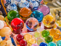 Ornamental glass for luck and prosperity. Colorful stock photography