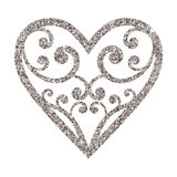 Ornamental glitter Valentines Day heart on a white background. Royalty Free Stock Image