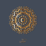 Ornamental gold flower oriental mandala on blue color background Stock Images