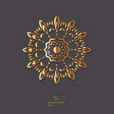 Ornamental gold flower oriental mandala on grey color background Royalty Free Stock Images