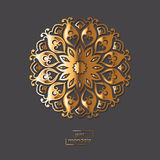 Ornamental gold flower oriental mandala on grey color background. Ethnic vintage pattern. Indian, asian, arabic, islamic, ottoman motif. Vector illustration Stock Images
