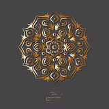 Ornamental gold flower oriental mandala on grey color background Stock Photos