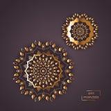 Ornamental gold flower oriental mandala on vinous color backgrou Stock Photos