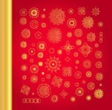 Ornamental gold oriental mandala set. Golden vector vintage snowflakes on red background Royalty Free Stock Images
