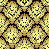 Ornamental golden damask seamless Pattern on black Stock Photography