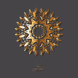 Ornamental golden flower mandala on grey color background. Ethni Stock Photo