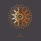 Ornamental golden flower mandala on grey color background. Ethni Royalty Free Stock Photos