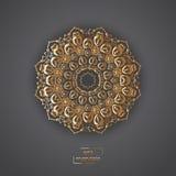 Ornamental golden flower mandala on grey color background. Ethni Stock Photography