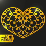 Ornamental Golden Heart with highlights. Vintage ornate design e Stock Photos