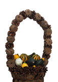 Ornamental gourds in decorative basket of pine cones Stock Photo