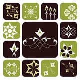 Ornamental graphic elements. Different ornamental graphic elements along a similar motif. In vector format release clip masks to reveal full elements Royalty Free Stock Images