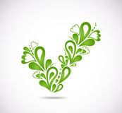 Ornamental green checkmark. Vector Royalty Free Stock Photos