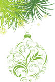 Ornamental green Christmas ball and fir tree. Branch. Illustration Stock Image