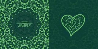 Ornamental green vector square flyer card design. Stock Photo