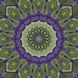 Ornamental green-violet round background Stock Photos