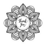 Ornamental greeting card with hand drawn zentangle inspired mandala and thank you text, line art. Black white illustration vector illustration