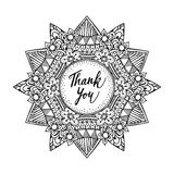 Ornamental greeting card with hand drawn zentangle inspired mandala and thank you text, line art Royalty Free Stock Photos