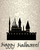 Ornamental Halloween vector background with dark vampire castle and text  Stock Photography